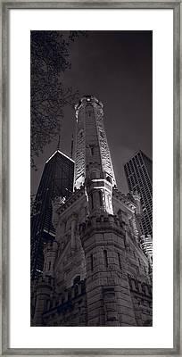 Chicago Water Tower Panorama B W Framed Print by Steve Gadomski