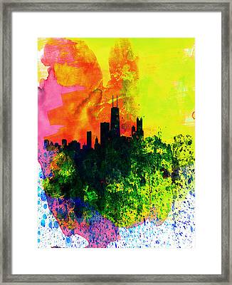 Chicago Watercolor Skyline Framed Print by Naxart Studio