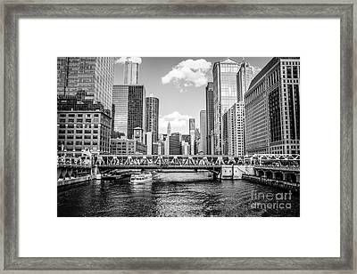Chicago Wells Street Bridge Black And White Picture Framed Print by Paul Velgos