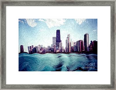 Chicago Windy City Digital Art Painting Framed Print by Paul Velgos