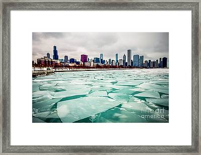Chicago Winter Skyline Framed Print by Paul Velgos