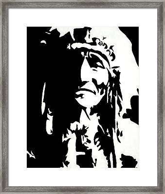 Chief Half In Darkness Framed Print by HJHunt