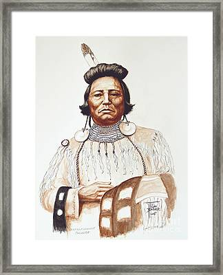 Chief Wolf Necklace Framed Print by Art By - Ti   Tolpo Bader