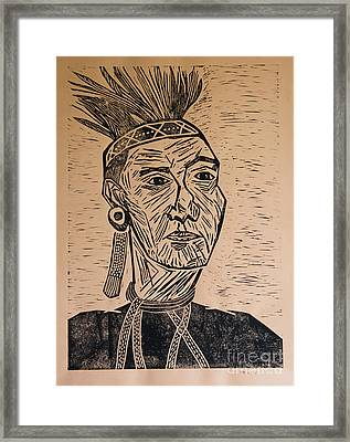 Chieftain - Block Print Framed Print by Christiane Schulze Art And Photography