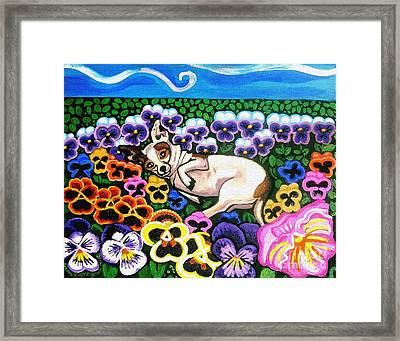 Chihuahua In Flowers Framed Print by Genevieve Esson