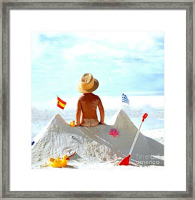 Child At The Beach Framed Print by Manfred Uselmann
