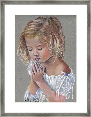 Child In Prayer Framed Print by Tonya Butcher