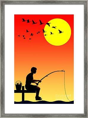 Childhood Dreams 3 Fishing Framed Print by John Edwards