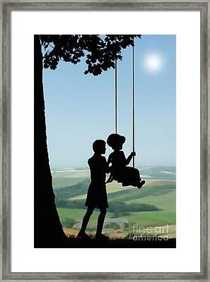 Childhood Dreams Push Me Framed Print by John Edwards