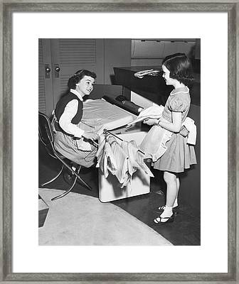 Children Doing Housework Framed Print by Underwood Archives
