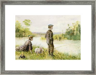 Children Fishing By A Stream Framed Print by George Goodwin Kilburne