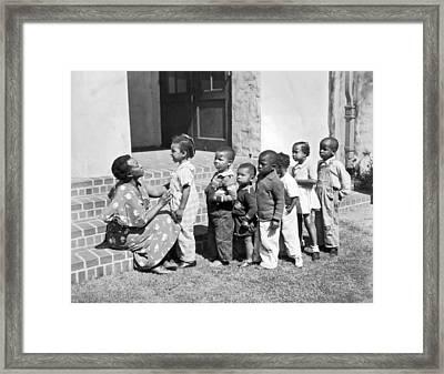 Children Get School Inspection Framed Print by Underwood Archives