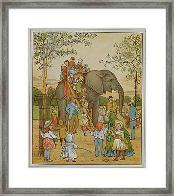Children Riding An Elephant At London Zoo Framed Print by British Library