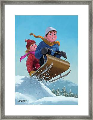 Children Snow Sleigh Ride Framed Print by Martin Davey
