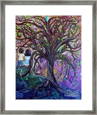 Children Under The Fantasy Tree With Jackie Joyner-kersee Framed Print by Eloise Schneider