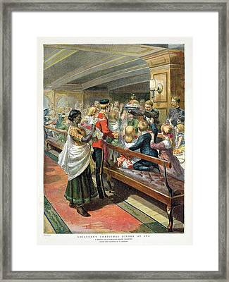 Childrens Christmas Dinner At Sea From The Graphic Christmas Number, 1889 Colour Litho Framed Print by Godefroy Durand