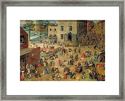 Childrens Games Kinderspiele, 1560 Oil On Panel Framed Print by Pieter the Elder Bruegel