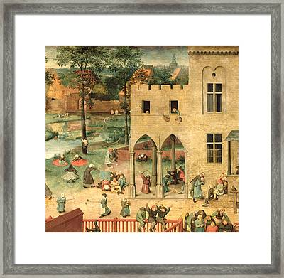 Childrens Games Kinderspiele Detail Of Top Left-hand Corner Showing Children Spinning Tops Framed Print by Pieter the Elder Bruegel