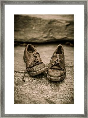 Child's Old Leather Shoes Framed Print by Edward Fielding