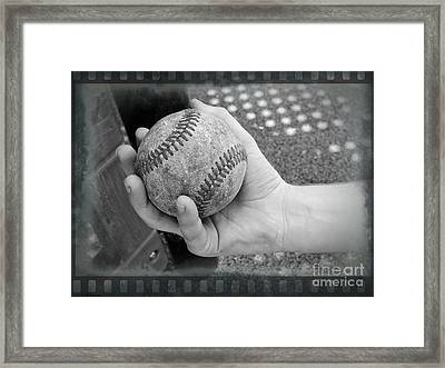 Childs Play - Baseball Black And White Framed Print by Ella Kaye Dickey