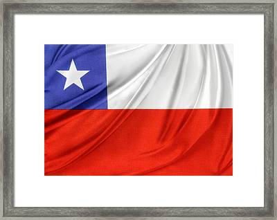 Chile Flag  Framed Print by Les Cunliffe