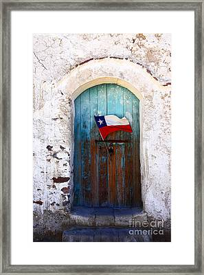 Chilean Flag On Church Door Framed Print by James Brunker