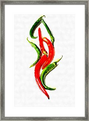 Chili Papers Of Various Shapes Painting Framed Print by Magomed Magomedagaev