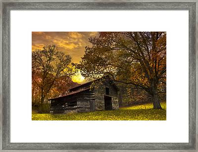 Chill Of An Early Fall Framed Print by Debra and Dave Vanderlaan