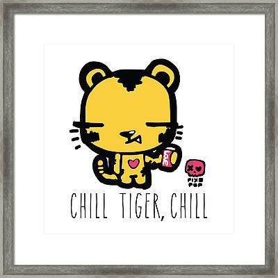Chill Tiger Chill Framed Print by Pixopop Pixopop