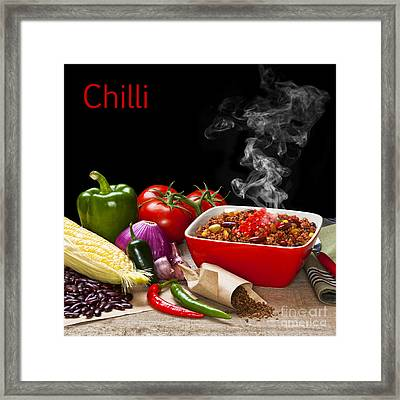 Chilli And Ingredients With Steam Rising Framed Print by Colin and Linda McKie