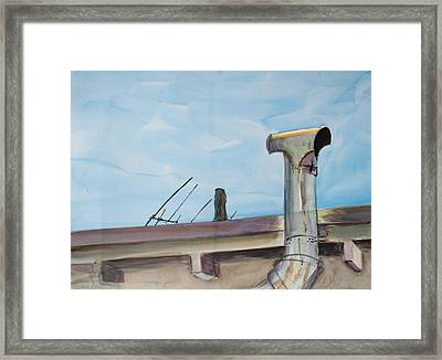 Chimney Pipe And Berkeley Sky Framed Print by Asha Carolyn Young