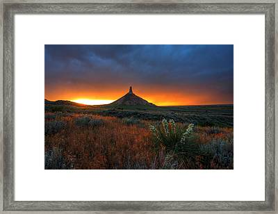 Chimney Rock Sunset Framed Print by Chris Allington