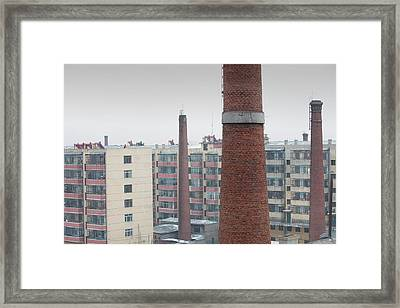 Chimneys And Apartment Blocks Framed Print by Ashley Cooper