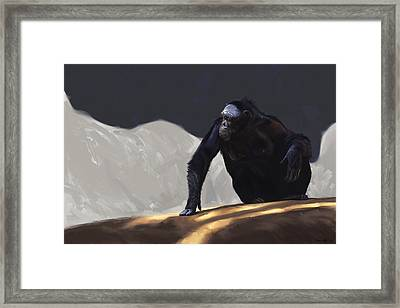 Chimp Contemplation Framed Print by Aaron Blaise