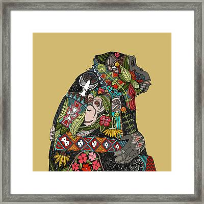 Chimpanzee Love Biscuit Framed Print by Sharon Turner