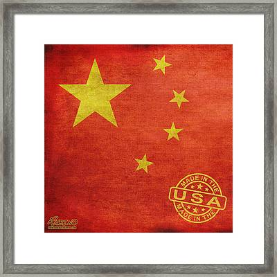 China Flag Made In The Usa Framed Print by Tony Rubino
