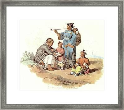China Peasant Family, 1797 Framed Print by Granger