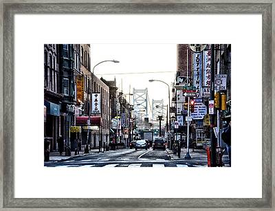 Chinatown And The Benjamin Franklin Bridge Framed Print by Bill Cannon
