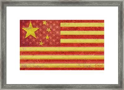 Chinese American Flag Blend Framed Print by Tony Rubino
