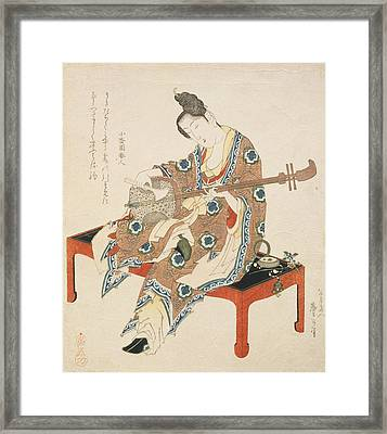 Chinese Beauty Playing The Shamisen Framed Print by Katsushika II Taito