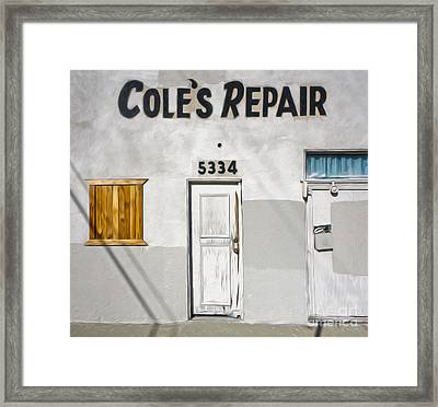 Chino - Coles Repair Framed Print by Gregory Dyer