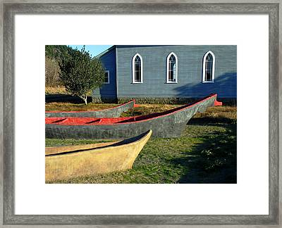 Chinook Canoes Framed Print by Pamela Patch