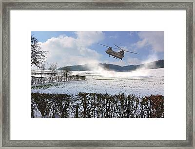 Chinook In Snow Dust Framed Print by Nop Briex