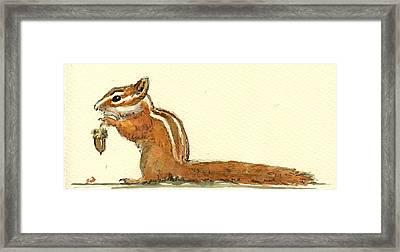 Chipmunk Framed Print by Juan  Bosco