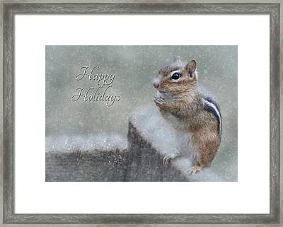 Chippy Christmas Card Framed Print by Lori Deiter
