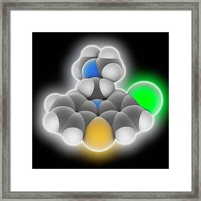 Chlorpromazine Drug Molecule Framed Print by Laguna Design