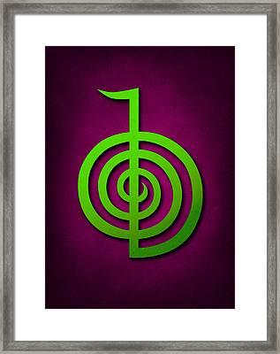 Cho Ku Rei - Lime Green On Purple Reiki Usui Symbol Framed Print by Cristina-Velina Ion