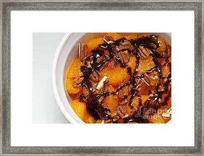 Chocolate Drizzled Mandarin Oranges With Nuts  Framed Print by Andee Design