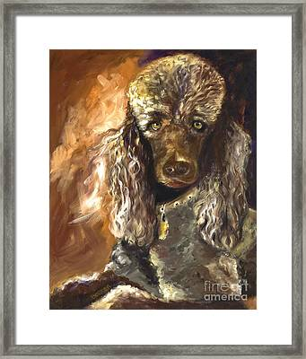 Chocolate Poodle Framed Print by Susan A Becker