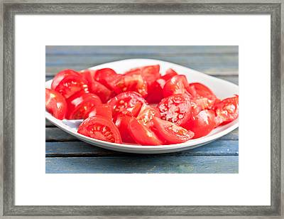 Chopped Tomatoes Framed Print by Tom Gowanlock
